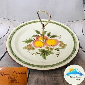"""Stangl apple delight 10"""" serving plate with handle"""